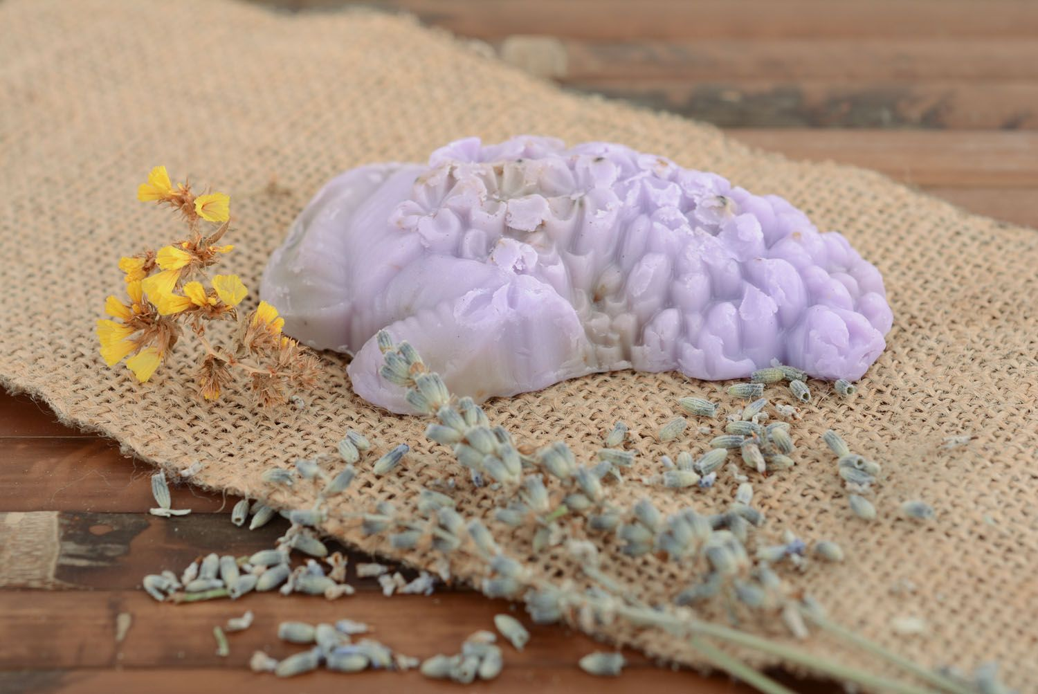 Homemade soap with lilac flowers photo 1