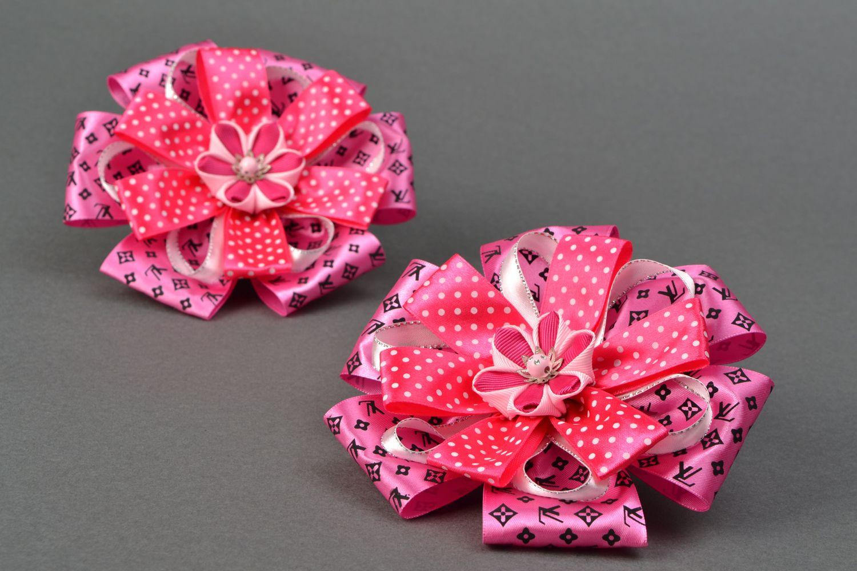 Set of bright hair ties with large ribbon bows Pink photo 4