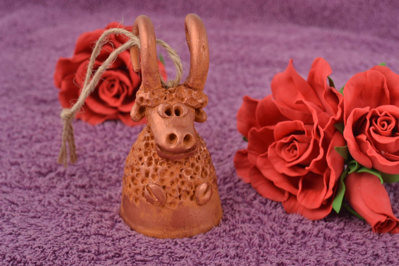 Clay painted unusual handmade bell in shape of ram photo 1