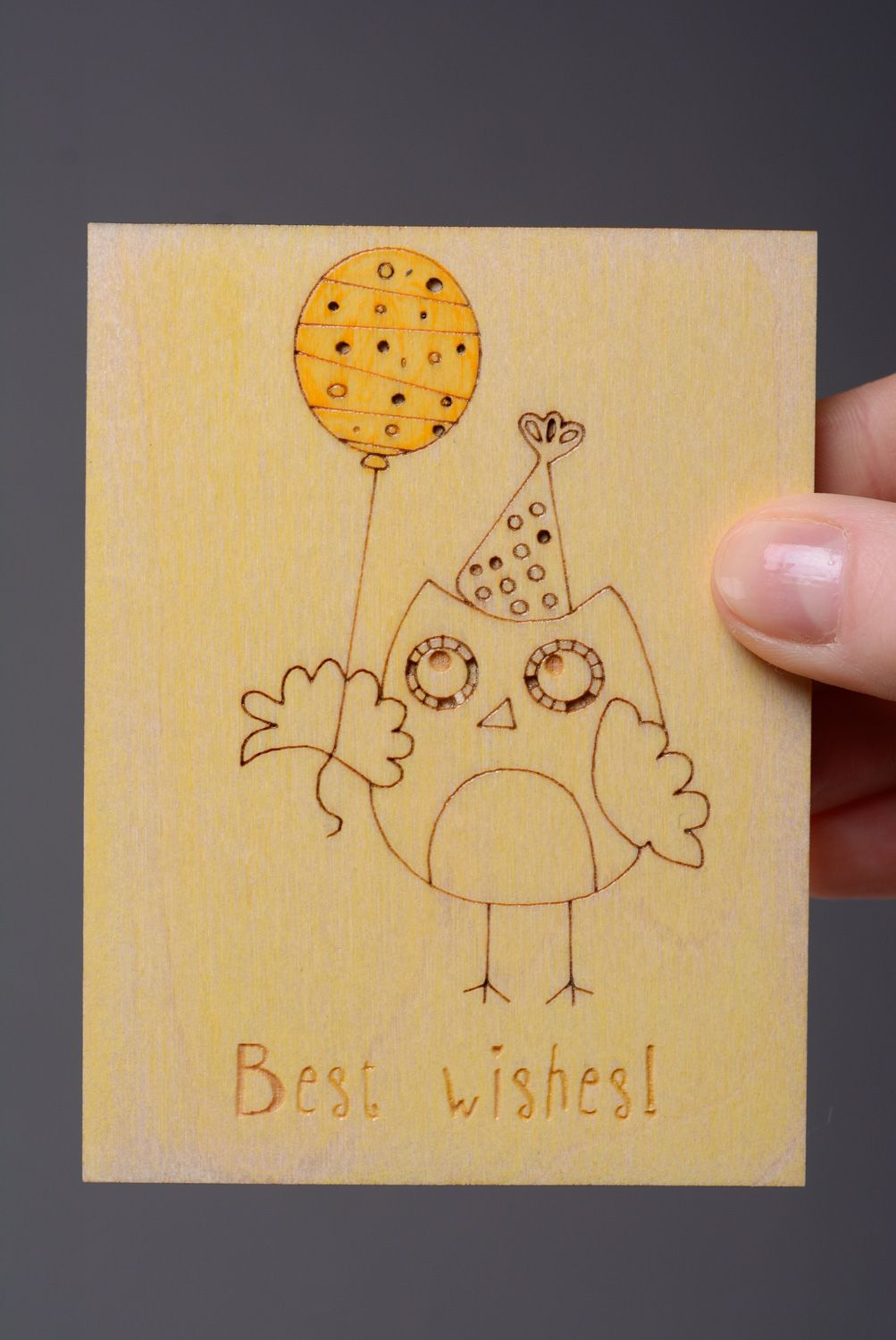 birthday Wooden greeting card with owl Best Wishes - MADEheart.com