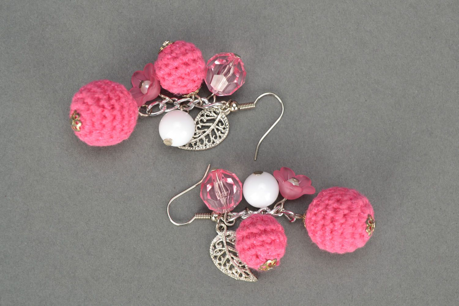 Lace earrings with charms Pink Hope photo 3