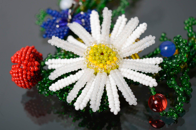 Цветочный браслет из бисера Украиночка фото 5