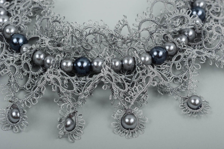 Damen Halskette Halsschmuck für Damen Collier Kette Schmuck handgemacht in Grau foto 4