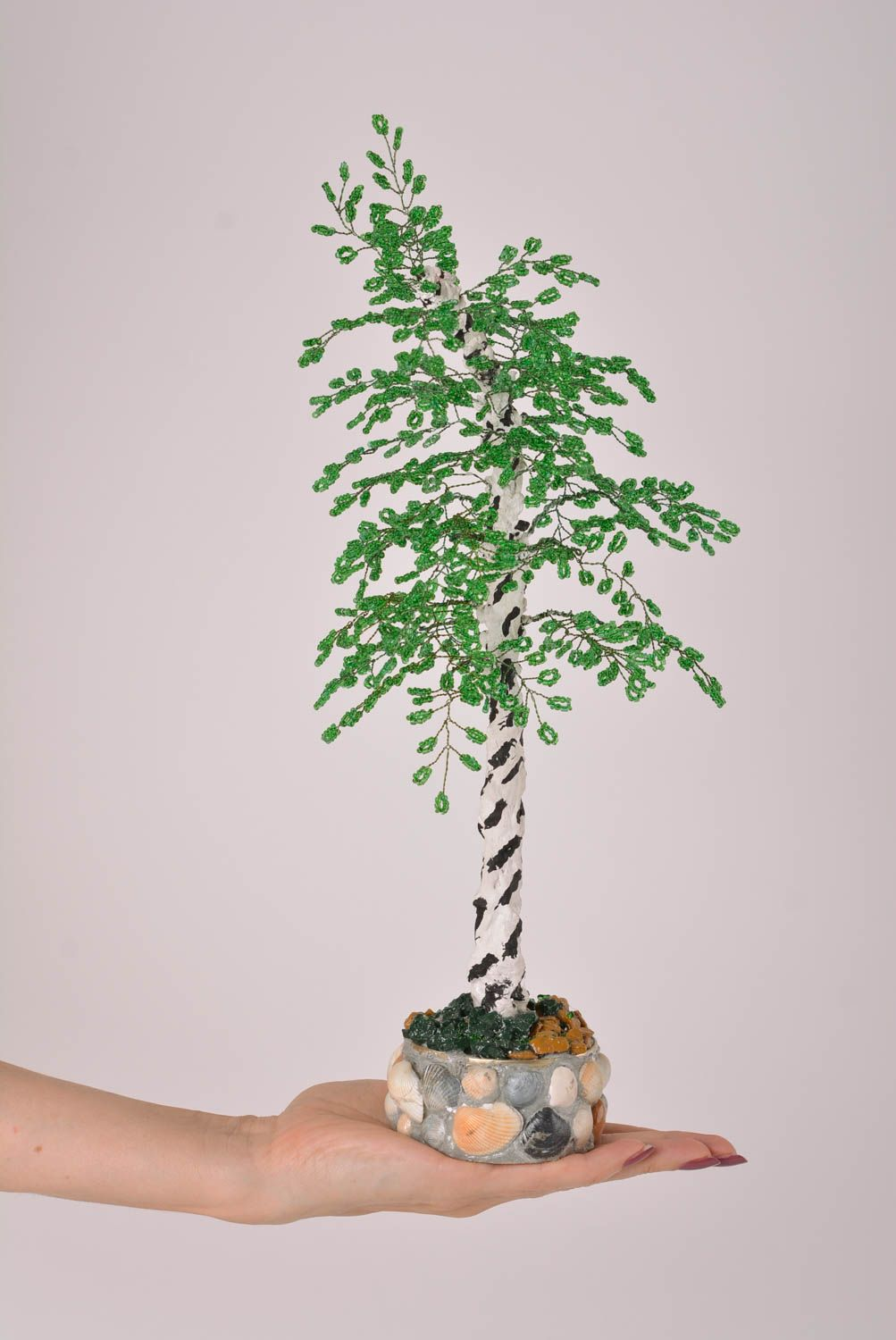 Homemade home decor artificial tree bead weaving topiary tree for decorative use photo 3