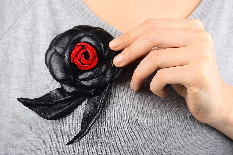 4fdd0d9cf83 abstraction brooches Handmade leather brooch unusual black flower brooch  designer accessory - MADEheart.com