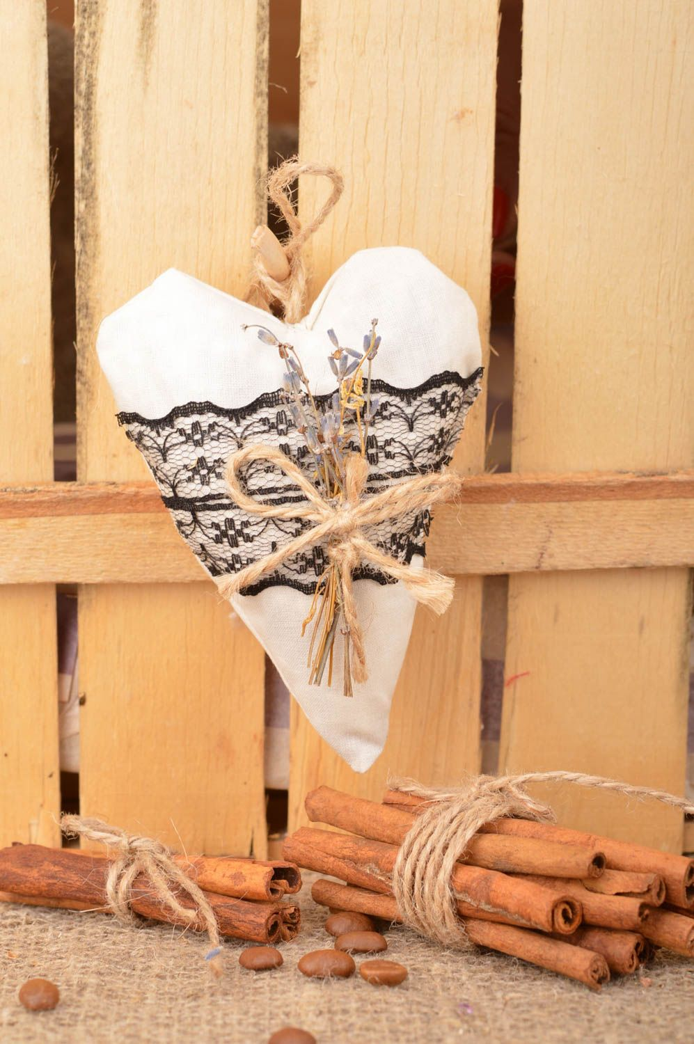 Handmade designer white fabric wall hanging Heart with black lace sachet pillow photo 1