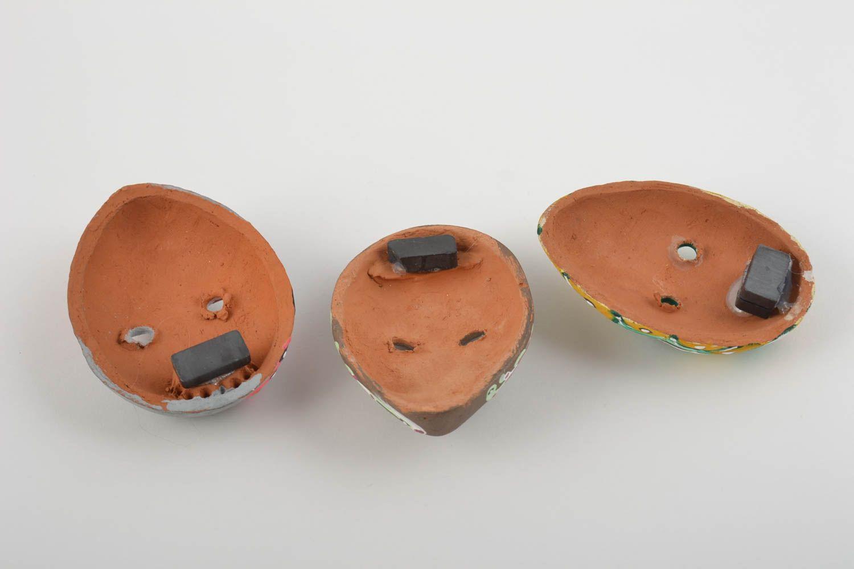 Set of 3 homemade ceramic fridge magnets in the shape of carnival masks photo 3