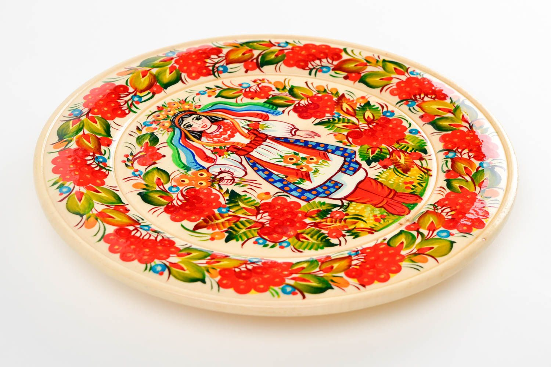 Декоративная посуда ручной работы деревянная тарелка настенный декор с росписью фото 3