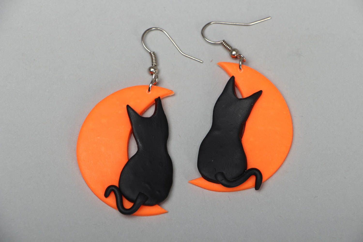 Earrings with plastic charms Cats on the Moon photo 1