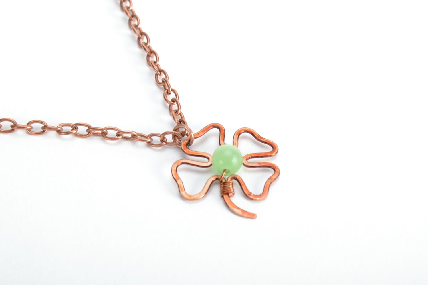 Copper pendant Clover photo 3