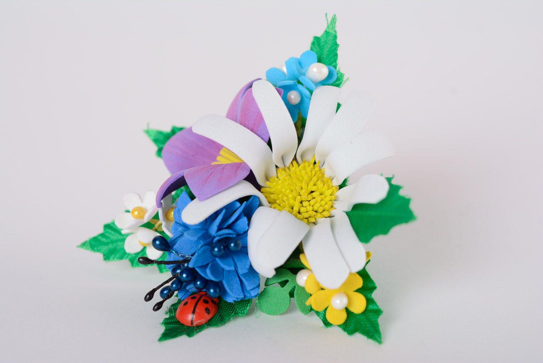 Set of handmade women's foamiran flower scrunchies in the shape of flower bouquets 2 items photo 2