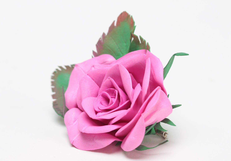 Gentle pink handmade designer foamiran fabric flower brooch Rose photo 2