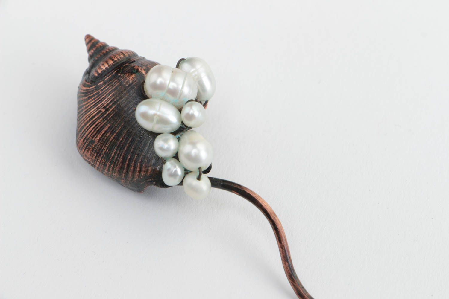 Hair pins Handmade designer decorative copper hair pin with fresh water pearls and shell - MADEheart.com