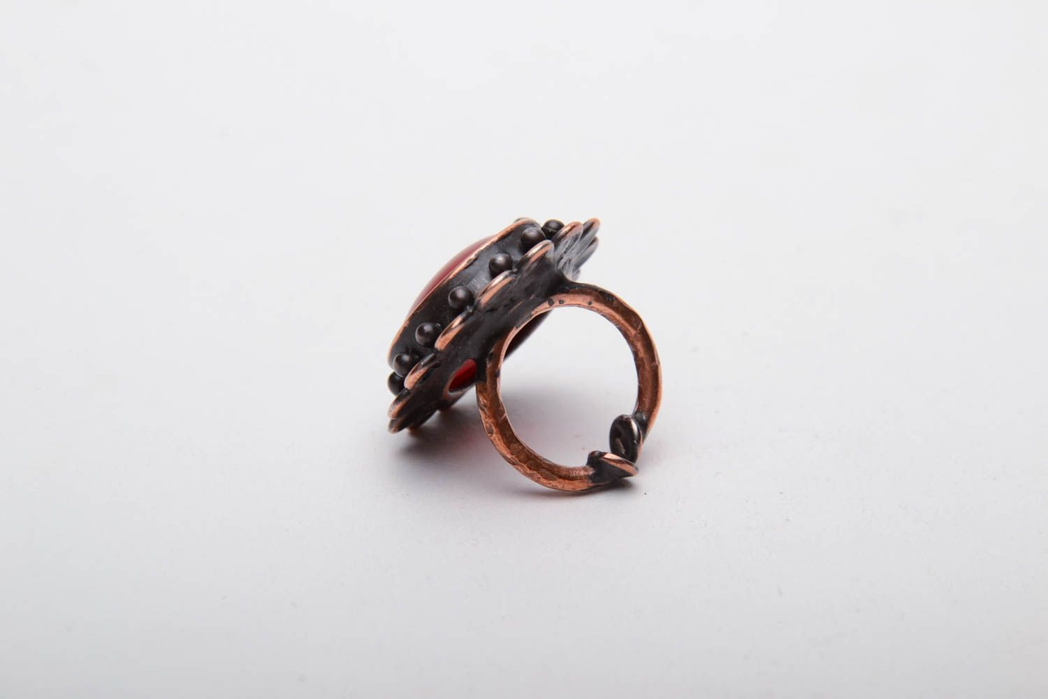 Glass and copper ring photo 3