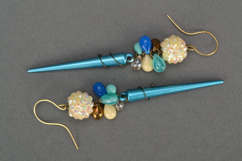 Handmade designer long earrings woven of Czech glass and acrylic beads photo 2