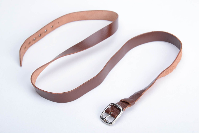 Unusual beautiful wide genuine leather bracelet designer unisex accessory photo 3