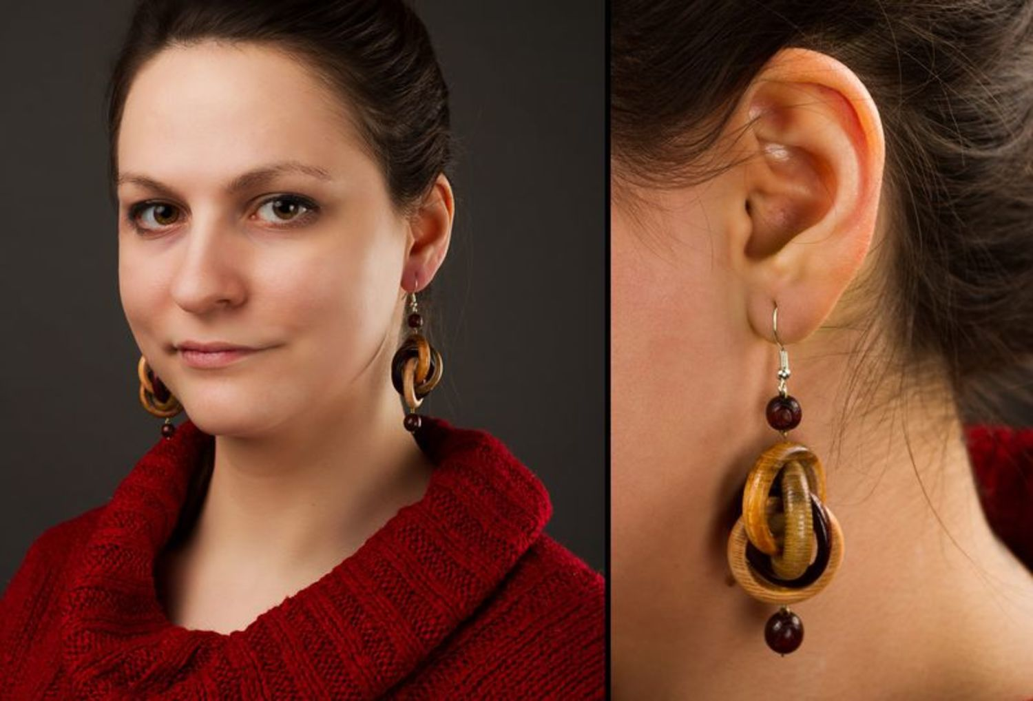 Wooden earrings photo 2