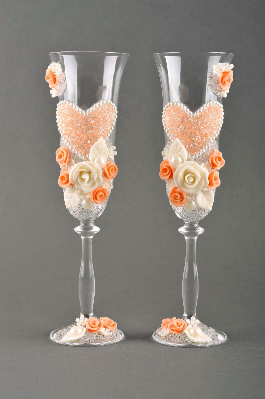 madeheart fl tes champagne fait main 2 verres vin pour mariage service vaisselle. Black Bedroom Furniture Sets. Home Design Ideas