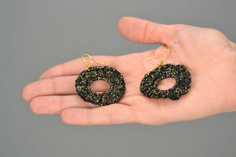 Black crochet earrings photo 2