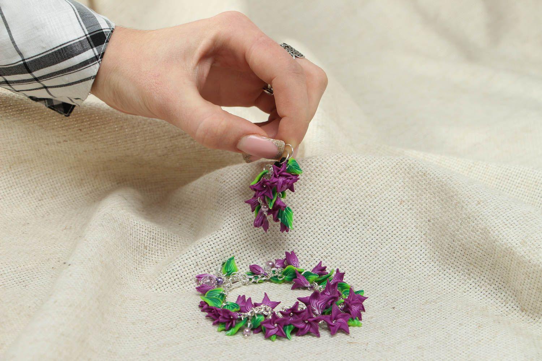 Браслет и серьги из полимерной глины фото 4