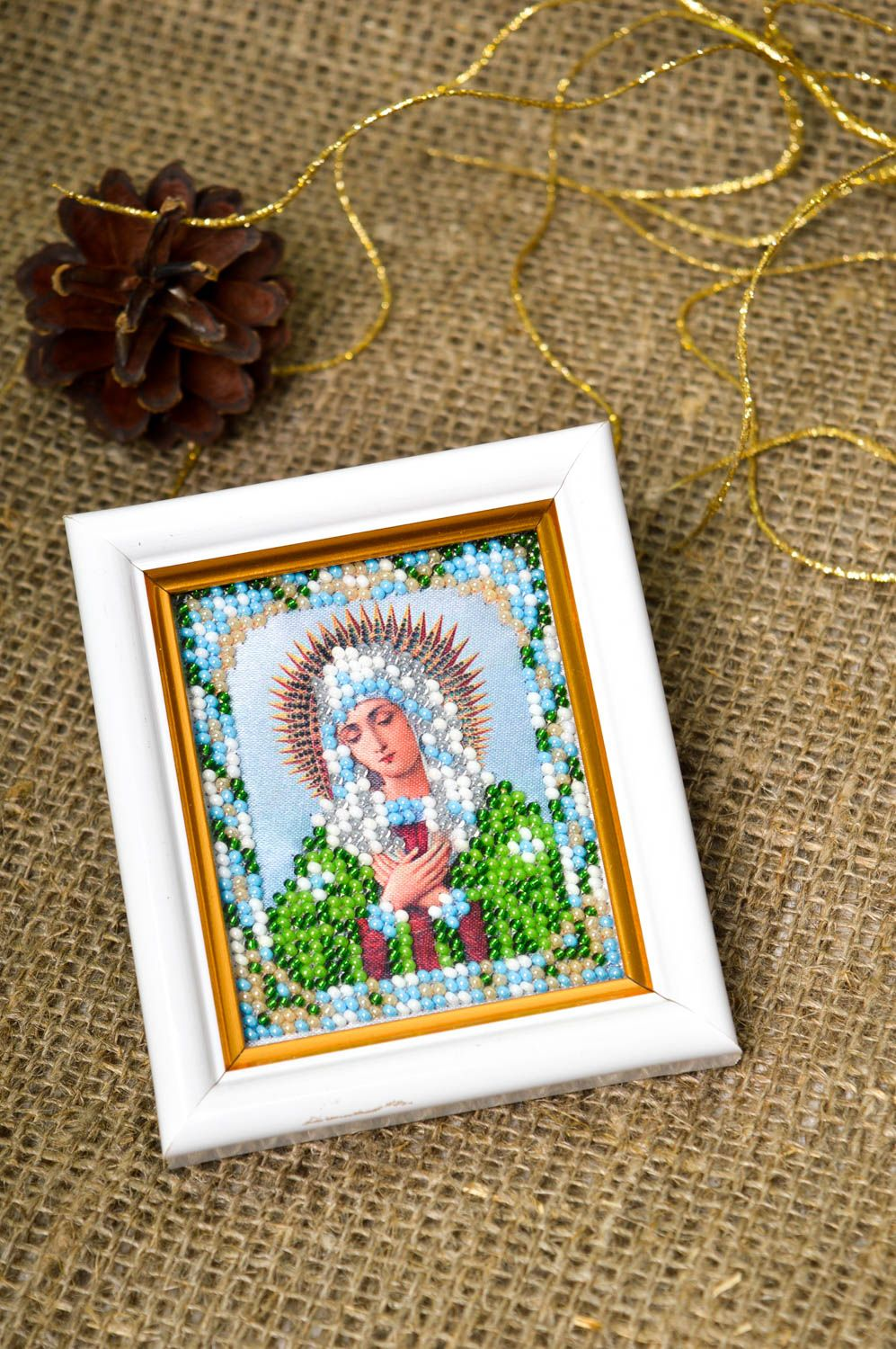 Handmade beautiful icon embroidered icon for home designer home amulet photo 2