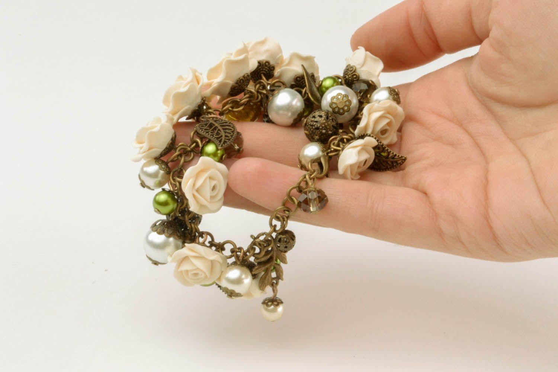 Armband aus Polymerton mit Blumen foto 3
