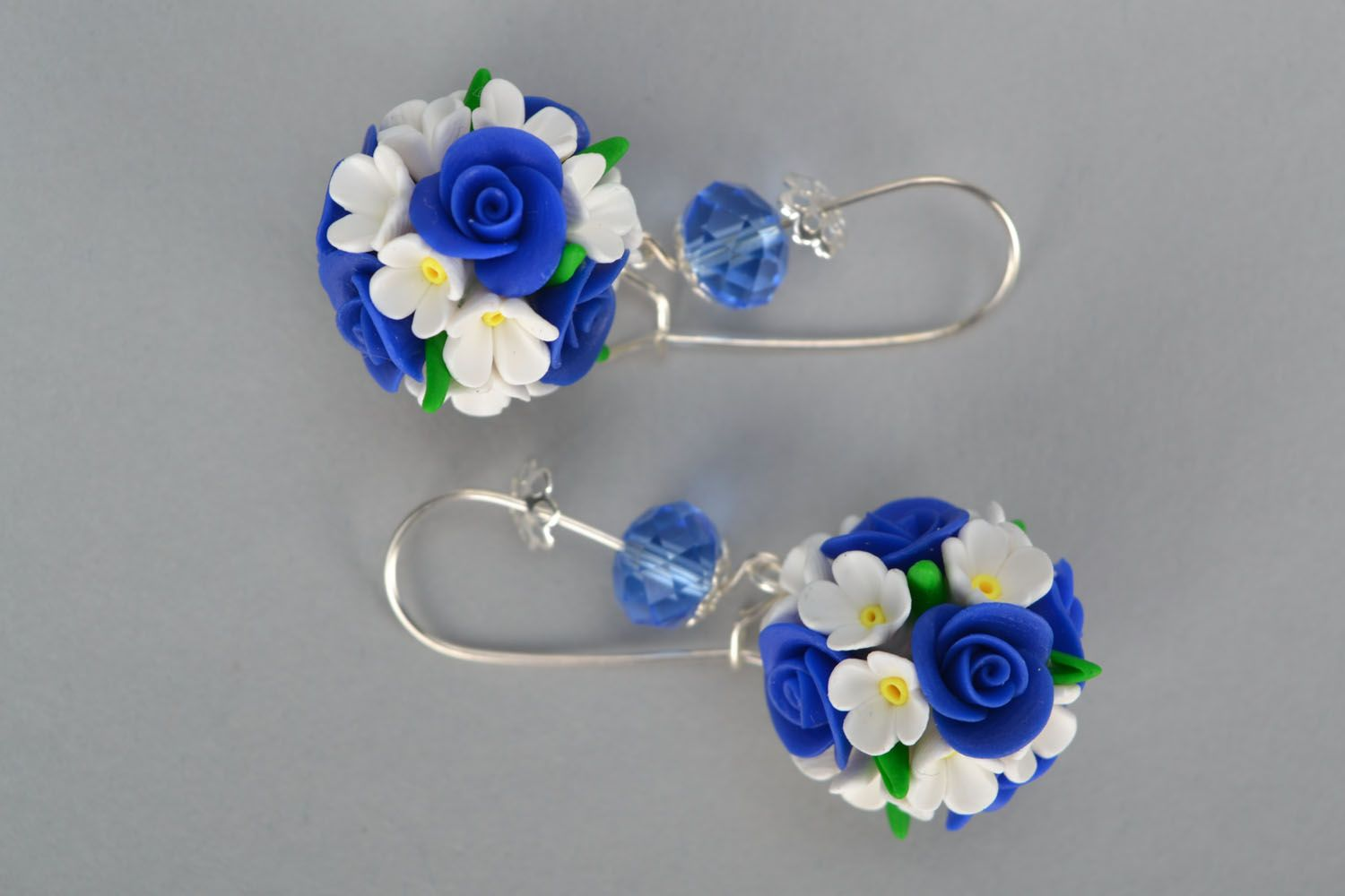 Round polymer clay earrings photo 2