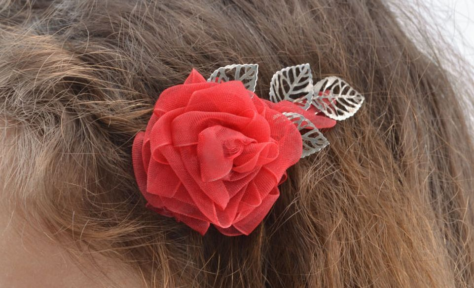 Brooch hair clip in the shape of flower photo 5