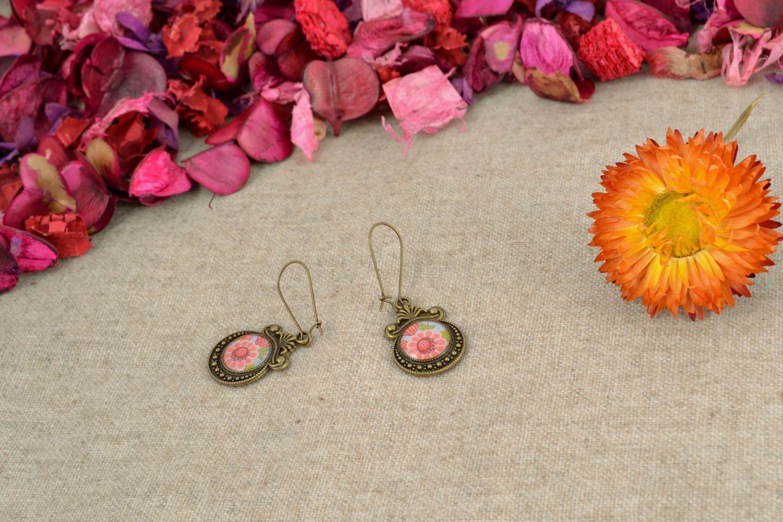 Decoupage epoxy earrings Vintage photo 1