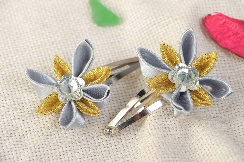 Set of 2 handmade satin ribbon flower hair clips for girls photo 1