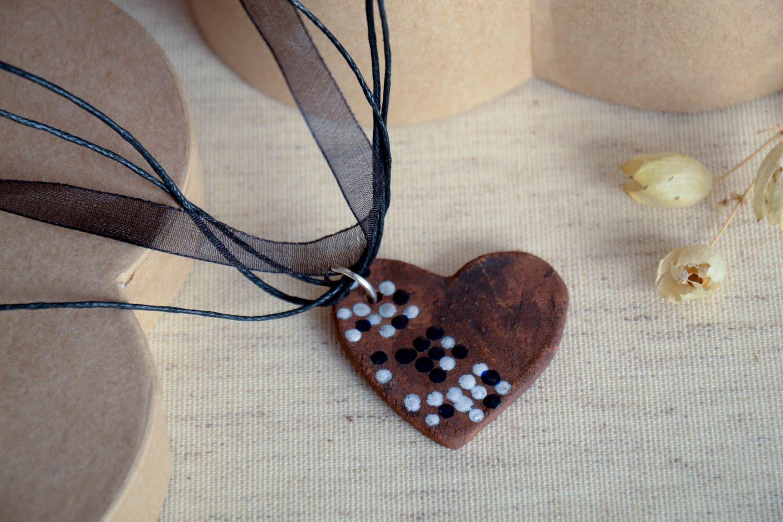 Кулон ручной работы керамическое украшение с росписью украшение на шею Сердце фото 1