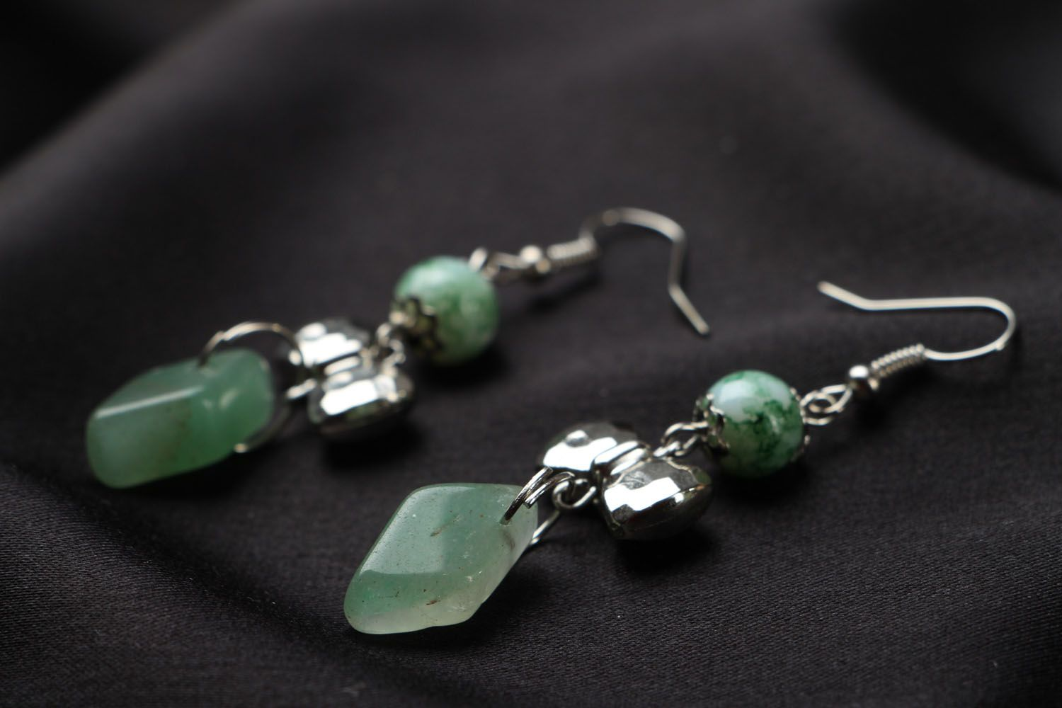 Earrings with nephrite charms photo 2