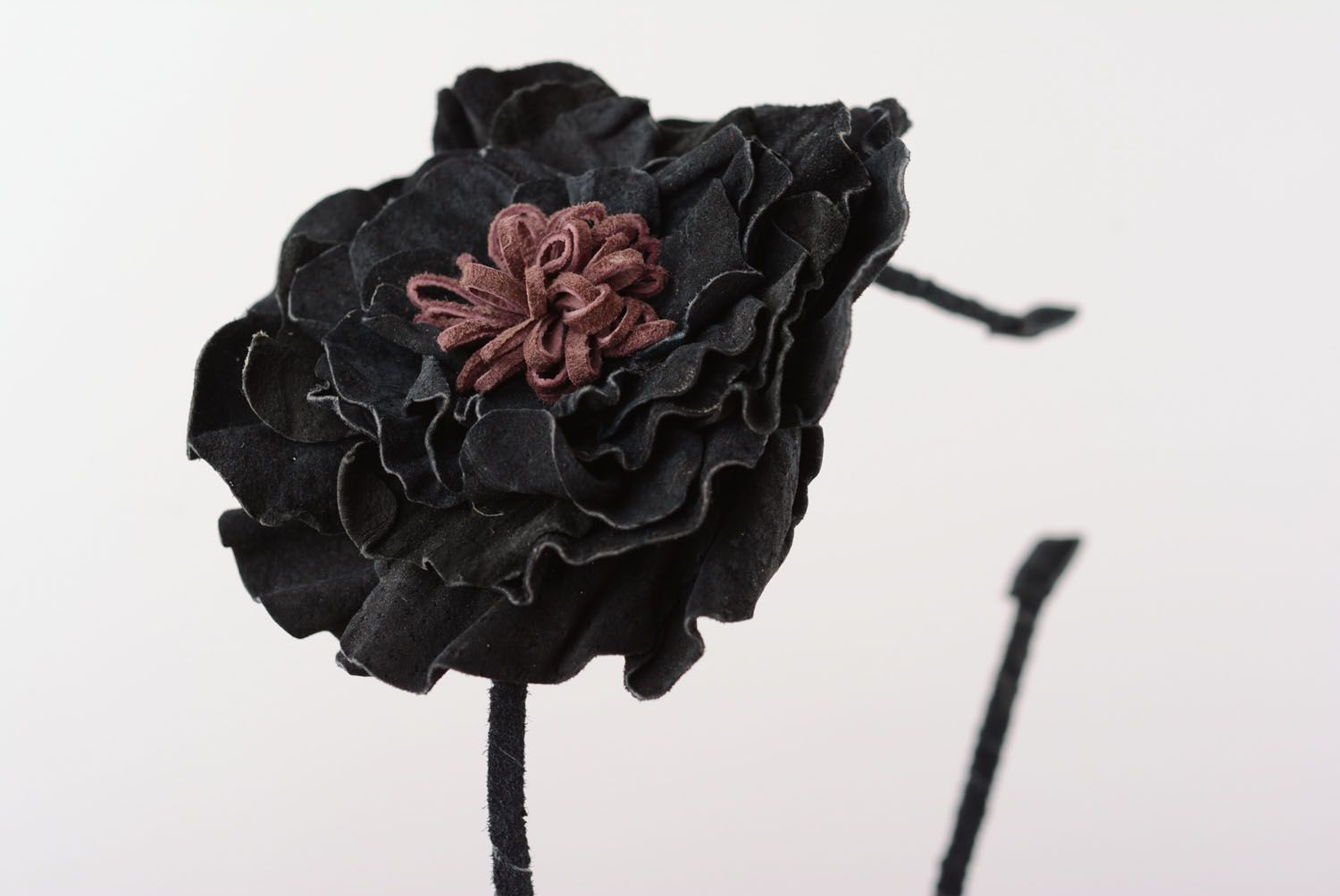 Headband with a leather flower photo 4
