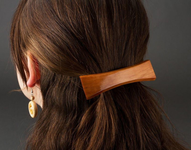 Hölzerne Haarspange foto 2