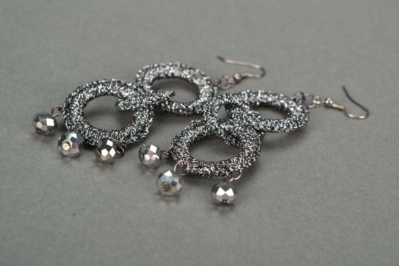 Crochet earrings Silvery color photo 4