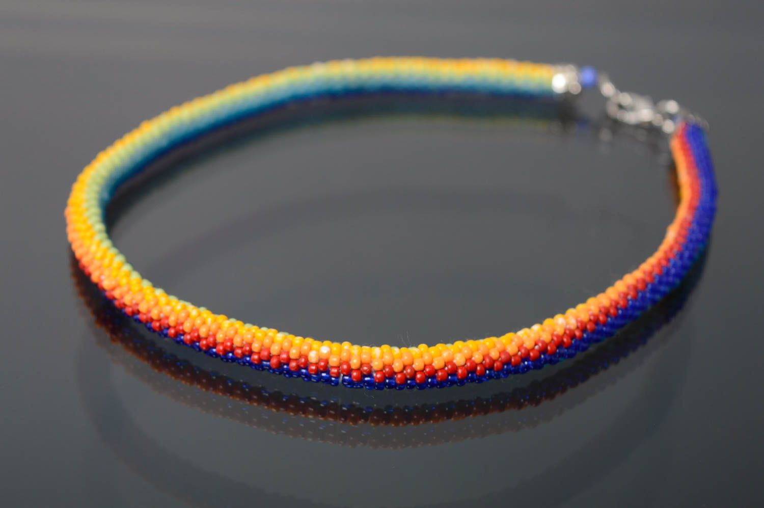 Colorful beaded cord necklace Rainbow photo 1