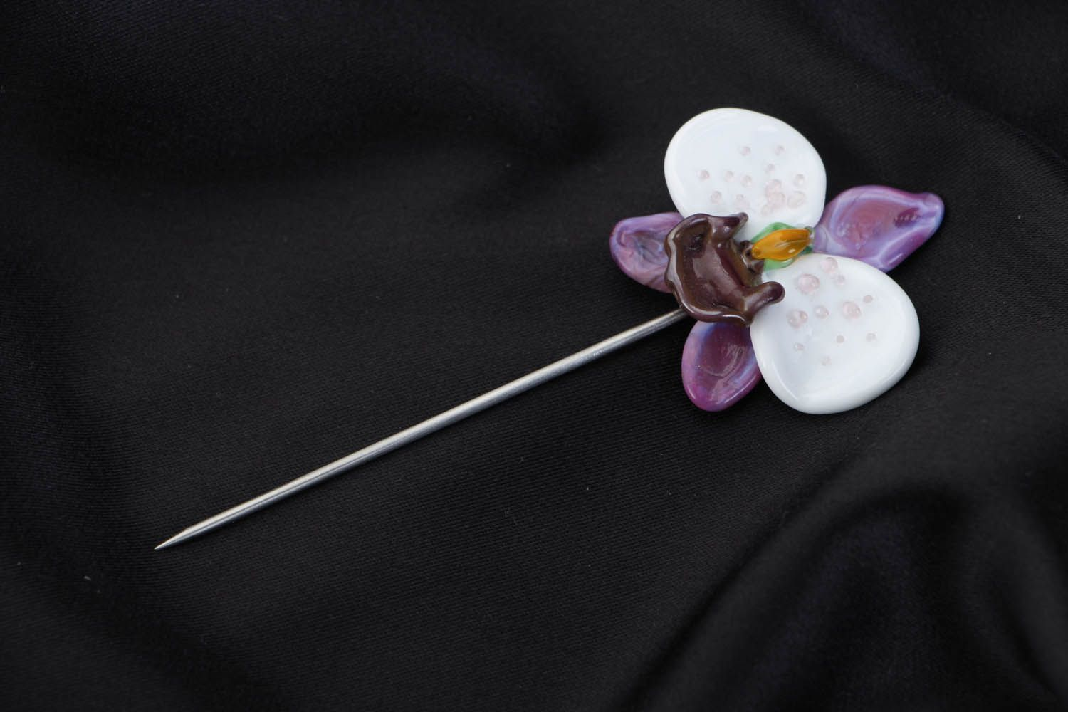 Designer glass brooch Orchid photo 1