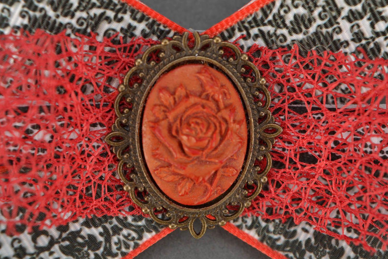 Hair clip Bow with Camellia photo 3