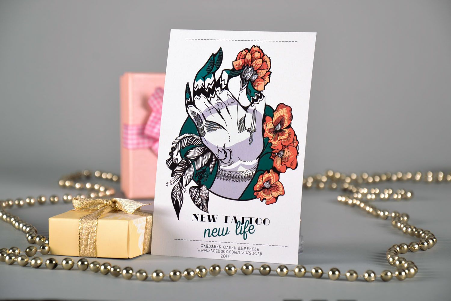 Greeting card with designer drawing New Tattoo photo 1