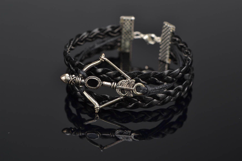 Woven genuine leather wrist bracelet with arbalest charm photo 1