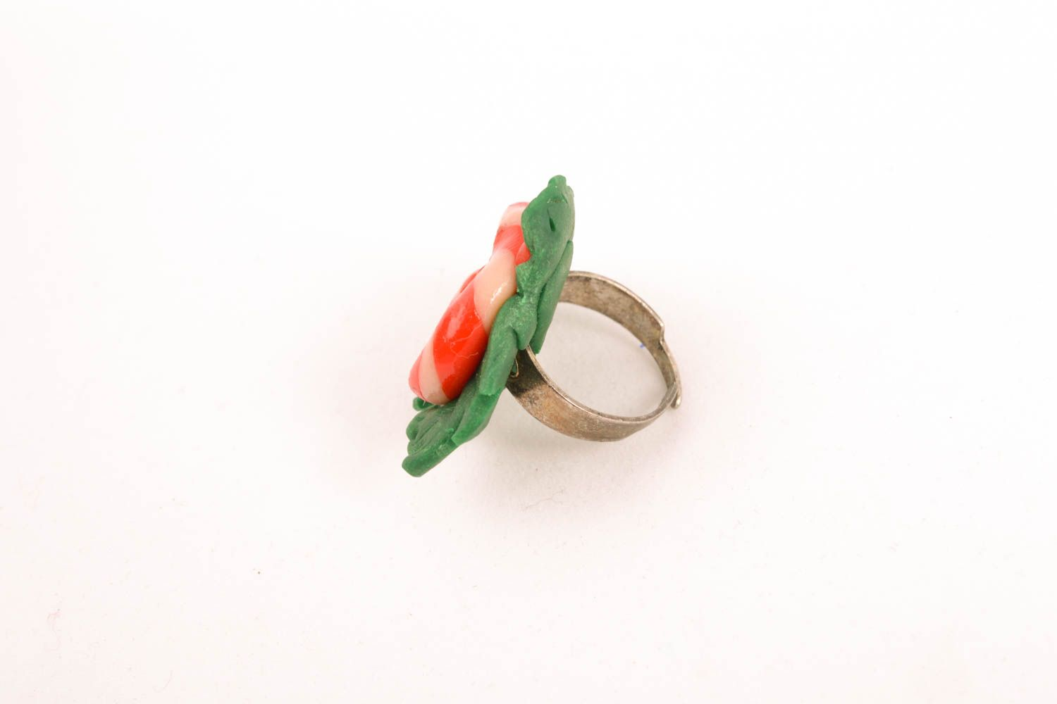 Unusual polymer clay ring photo 1