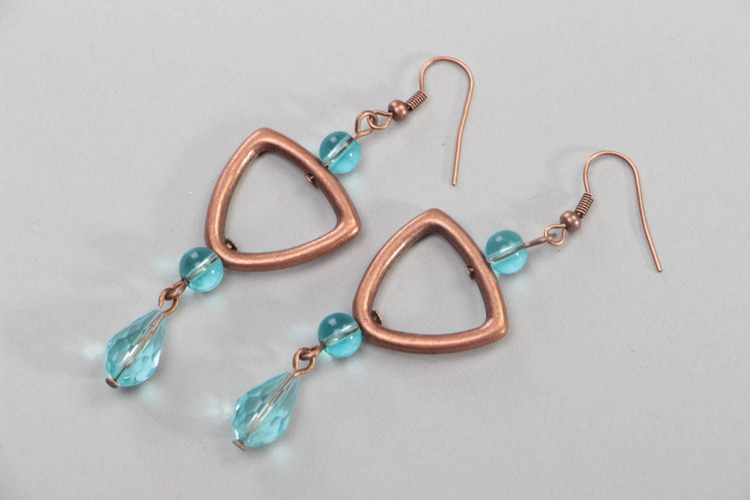 Handmade massive earrings accessories made of crystal beads copper jewelry photo 2
