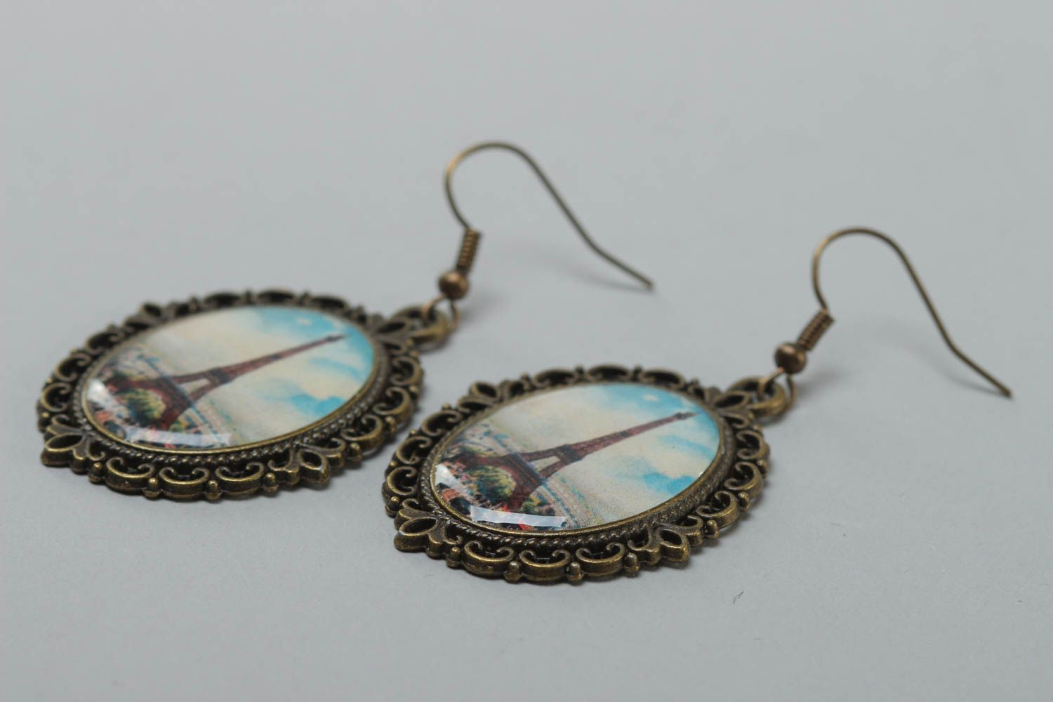 Handmade women's earrings with glass glaze oval vintage stylish accessory photo 3