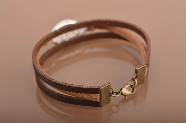 Handmade leather bracelet against the evil eye unisex designer accessory photo 4