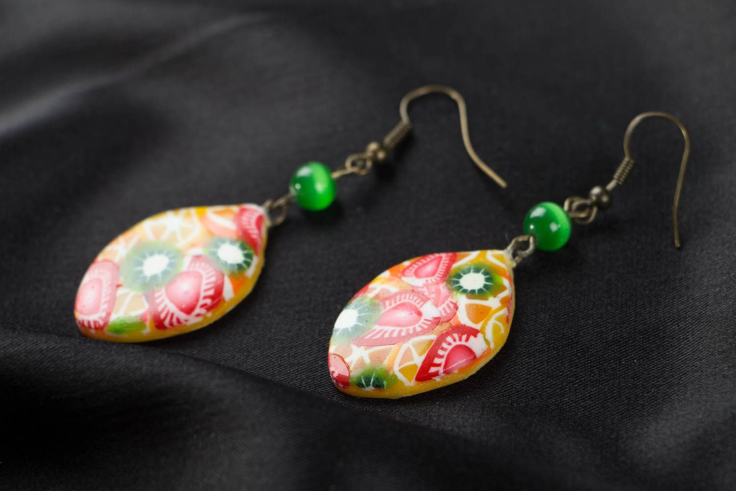 Polymer clay earrings Fruit Mix photo 2