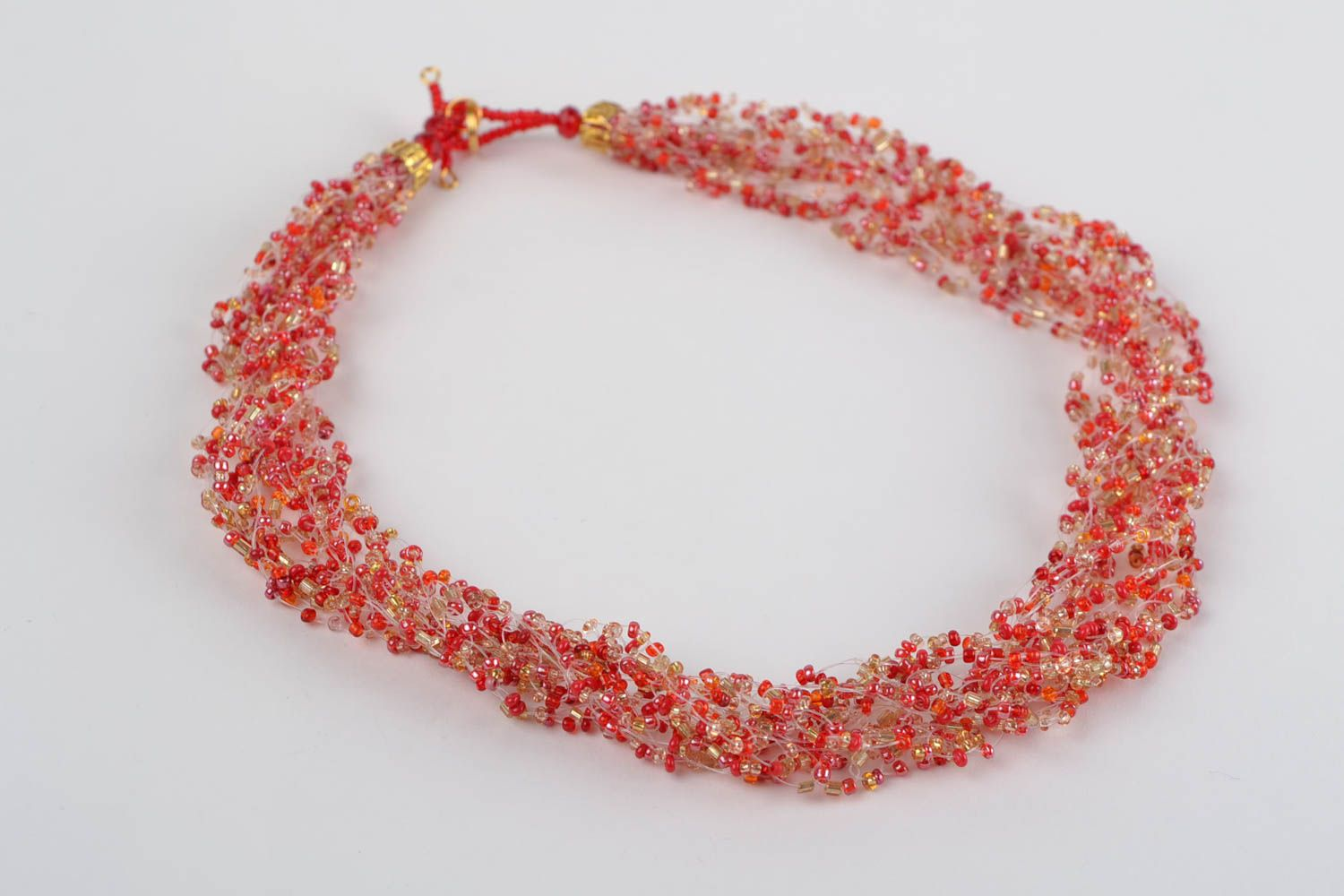 Red beaded necklace handmade designer seed beads jewelry womens accessory photo 4
