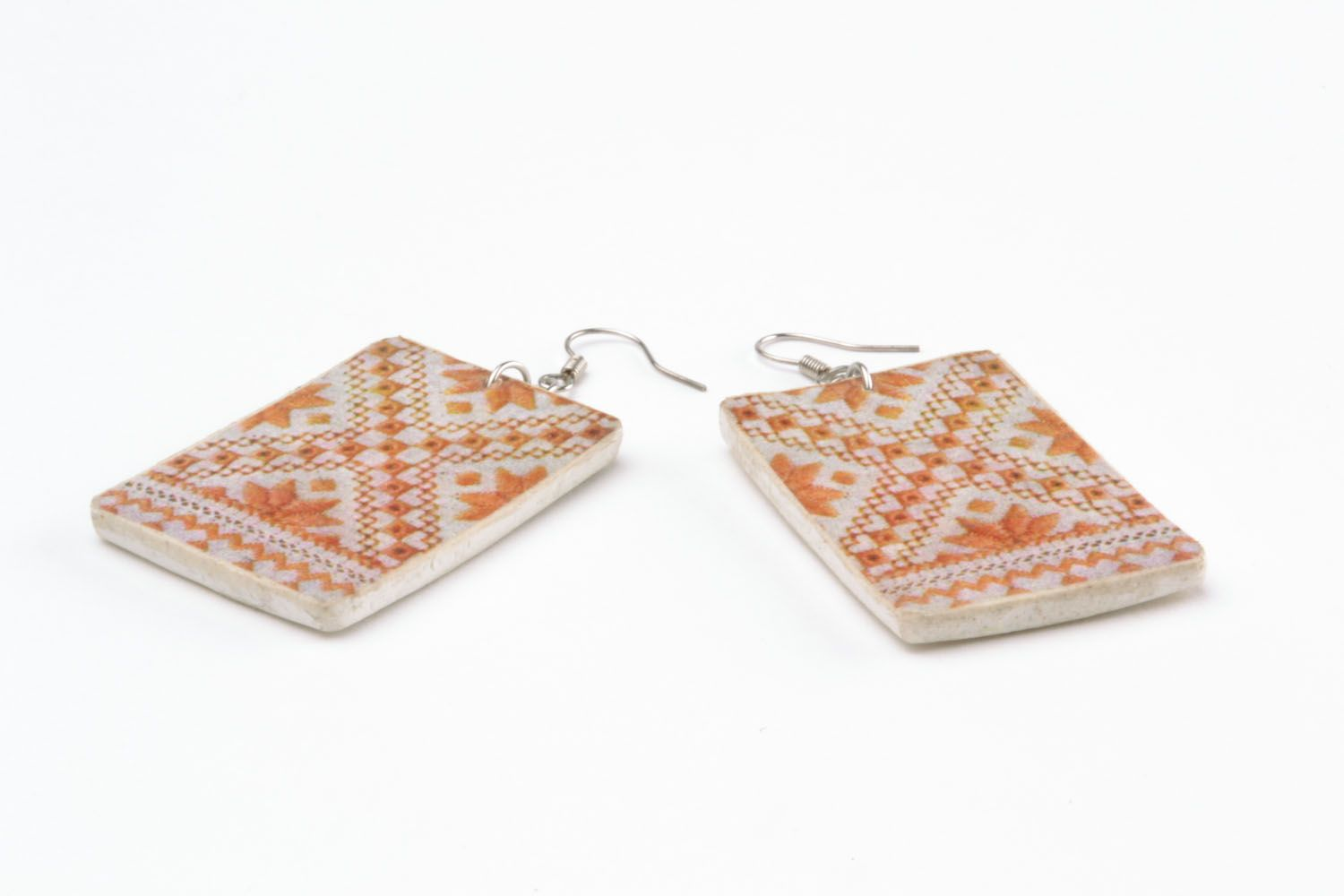 Earrings made of polymer clay Pattern photo 4