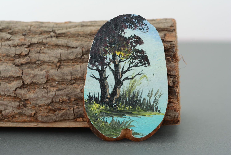 Wooden fridge magnet Lake photo 1