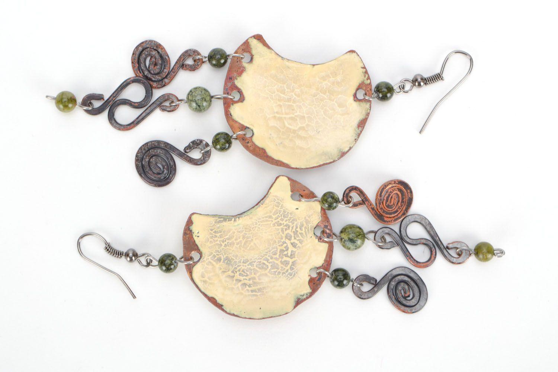 Long copper earrings photo 3