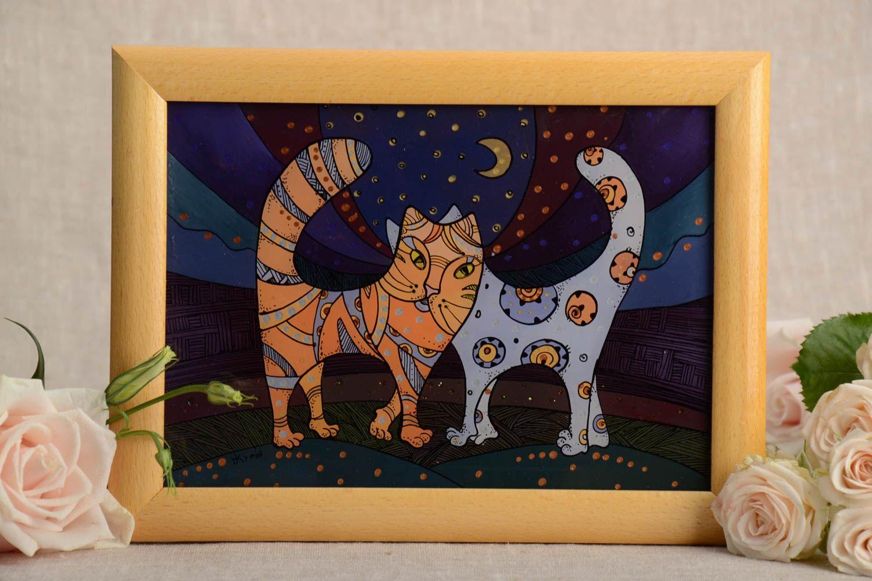 MADEHEART > Öl Gemälde Katzen im Holz Rahmen für Dekor knstlerisch ...